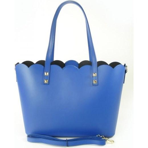 051576b0a5c9c VERA PELLE Włoska torebka skórzana shopper niebieska SB444BS Włoskie torebki  WYPRZEDAŻ Vera Pelle rinkopl okazja ...