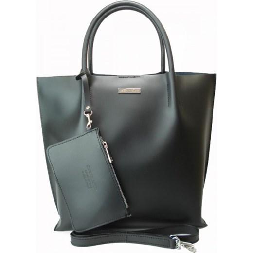 cc1ff2b3a88d7 VERA PELLE Włoska duża torebka shopper skórzana czarna SB4020N1 Włoskie torebki  WYPRZEDAŻ Vera Pelle wyprzedaż rinkopl ...