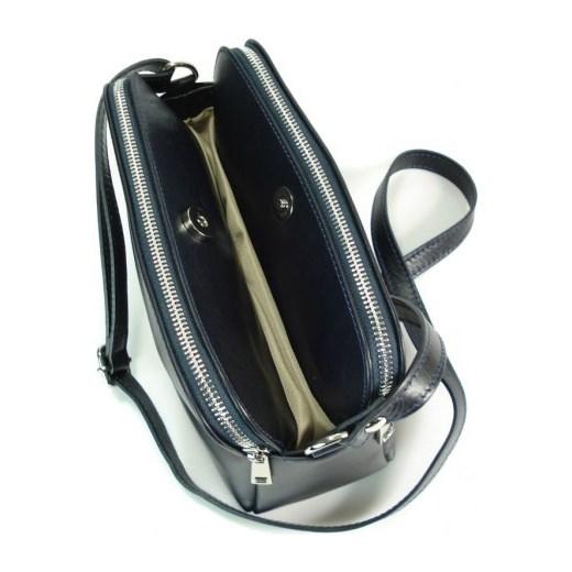 846271496132c ... VERA PELLE Klasyczna mała torebka damska listonoszka na ramię granatowa  skóra naturalna VP2KBS Włoskie torebki WYPRZEDAŻ