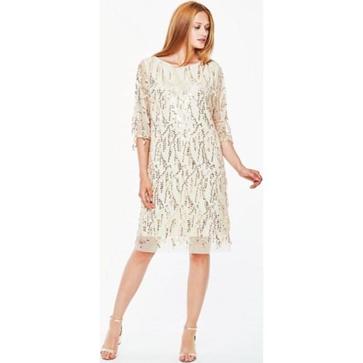395fb7865e Sukienka wieczorowa ozdobiona cekinami L AF LUCIA bezowy L af Eye For  Fashion w Domodi
