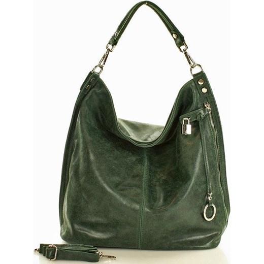 36e2364d33f5e Skóra naturalna torebka worek Isabella ciemna zieleń bialy Mazzini One Size  merg.pl wyprzedaż ...