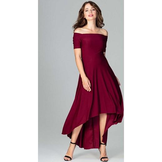 ef3d2dfd6c Bordowa Długa Asymetryczna Sukienka z Odkrytymi Ramionami Katrus L MOLLY.PL
