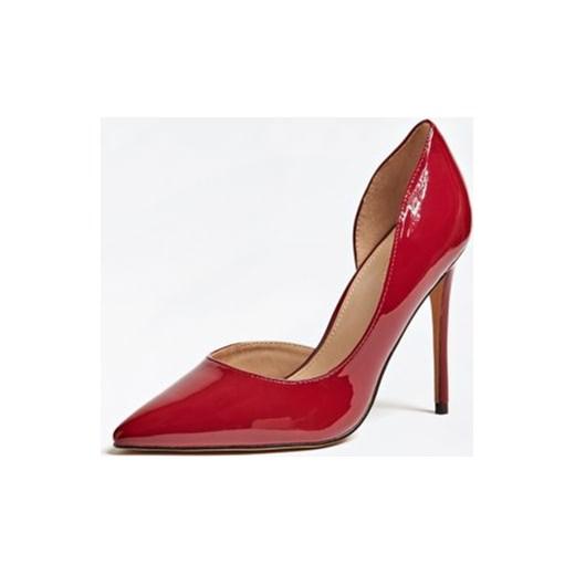 5d0d587f512cd Marciano Guess czółenka ze szpiczastym noskiem na szpilce czerwone skórzane  eleganckie