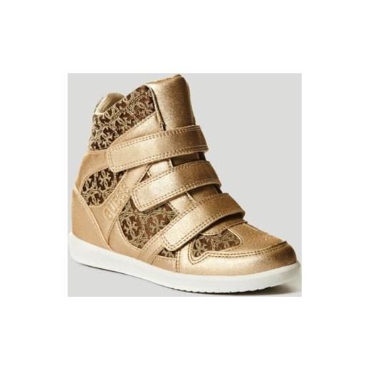 Sneakersy damskie Guess na rzepy złote