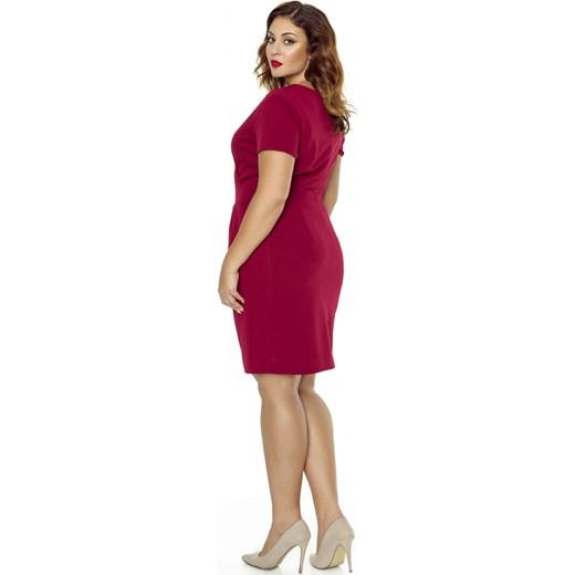 961ce562 Sukienka Kartes Moda dla puszystych z dekoltem v z krótkim rękawem