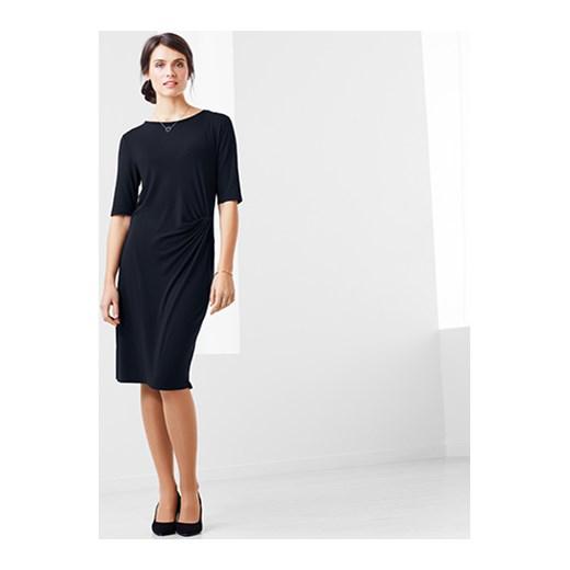 03cfea0241df86 Sukienka Tchibo w stylu klasycznym z krótkim rękawem dopasowana z okrągłym  dekoltem w Domodi
