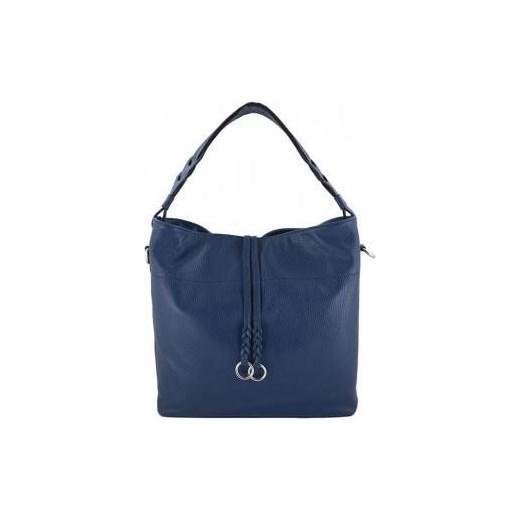 d213316cbd8c7 Shopper bag Barberini`s niebieska na ramię duża skórzana w Domodi