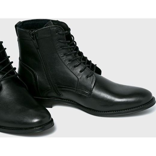 e5e99cccb4ed4 ... Buty zimowe męskie Wojas eleganckie czarne skórzane sznurowane ...