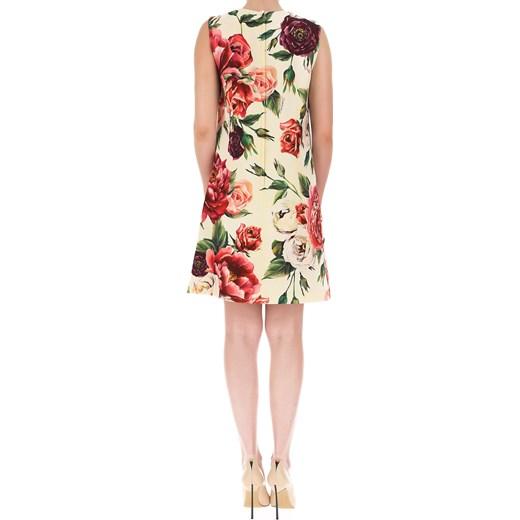 d3d23abb72 ... Sukienka Dolce   Gabbana na sylwestra z okrągłym dekoltem w kwiaty  elegancka ...