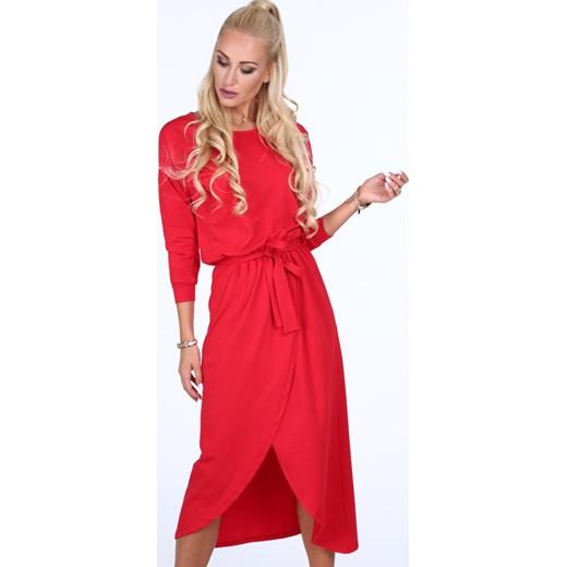 Sukienka czerwona midi Odzież Damska MY czerwony Sukienki