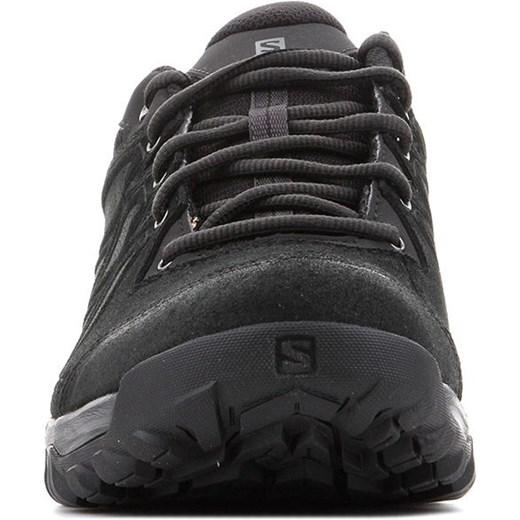 Czarne buty trekkingowe męskie Salomon skórzane sznurowane sportowe