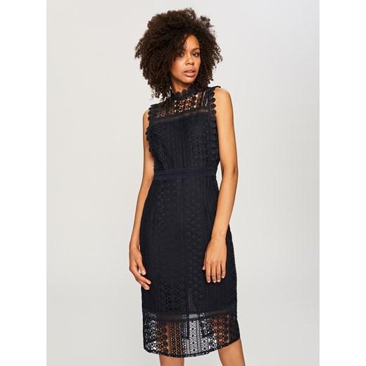 fb162b137e45 Reserved - Ażurowa sukienka midi Granatowy w Domodi