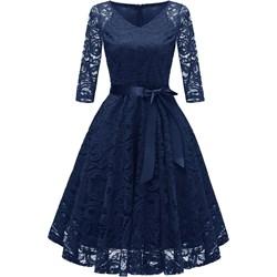 c4599252a9 Sukienka Elegrina koronkowa rozkloszowana midi elegancka z długim rękawem