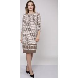 f616046faa Beżowe sukienki dzianinowe do pracy