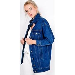f0f1d1ff3523 Zoio kurtka damska bez kaptura niebieska długa bez wzorów w miejskim stylu  jeansowa