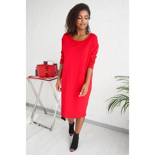 140d53ebaf ... Sukienka wielokolorowa Bastet Fashion midi bawełniana z długim rękawem  sportowa ...