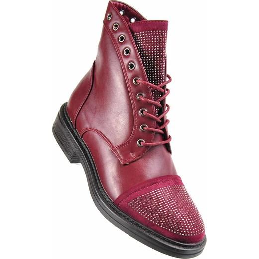 135bd32f4973d Bordowe botki trapery z ćwiekami /E4-1 2432 S391/ Kayla Shoes 40  pantofelek24 ...