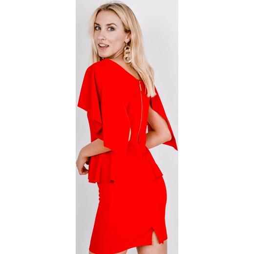 7cceb27b01 Sukienka czerwona Zoio mini z krótkim rękawem z dekoltem w łódkę ...