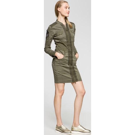 ea55455da8 Sukienka Aeronautica Militare na co dzień zielona mini dopasowana z ...
