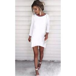 cf28b4bf5c Sukienka biała z okrągłym dekoltem mini asymetryczna dzienna
