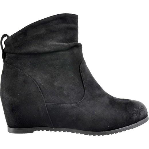 c468e933 Buty na koturnie- czarne botki z ociepleniem /E6-1 2466 S493/ M.t.t ...