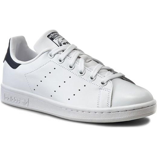 dc64301d72857 Trampki damskie Adidas stan smith białe na płaskiej podeszwie ze skóry bez  wzorów