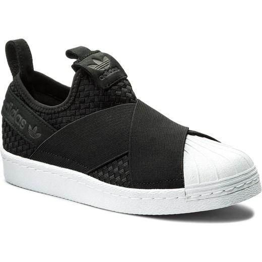 dc9e22116ce63 Trampki damskie Adidas superstar gładkie czarne płaskie sportowe ze skóry  ekologicznej na wiosnę