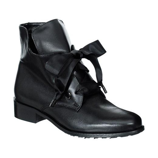 5cd41dbaab675 Workery damskie Eksbut sznurowane czarne bez wzorów skórzane na jesień ...