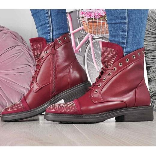 1fb68aaa8583b Workery damskie Kayla Shoes jesienne gładkie sznurowane ze skóry  ekologicznej
