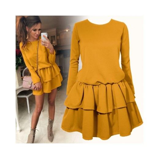 1c2f55c5c5a734 Sukienka Pakuten żółta mini gładka na co dzień z długim rękawem w Domodi