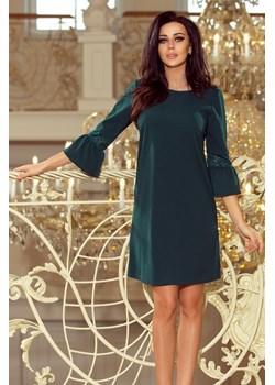 190-7 MARGARET sukienka z koronką na rękawkach - ZIELEŃ BUTELKOWA  Numoco MyButik.pl - kod rabatowy