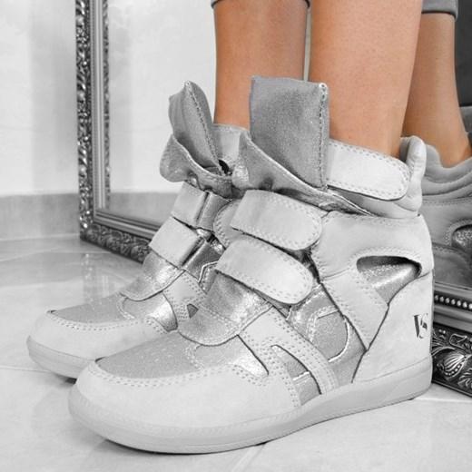Sneakersy damskie Wilady płaskie szare na rzepy
