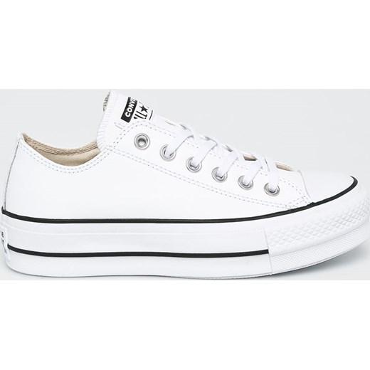 3938cdde755dc Trampki damskie Converse na platformie z tkaniny białe sznurowane w ...