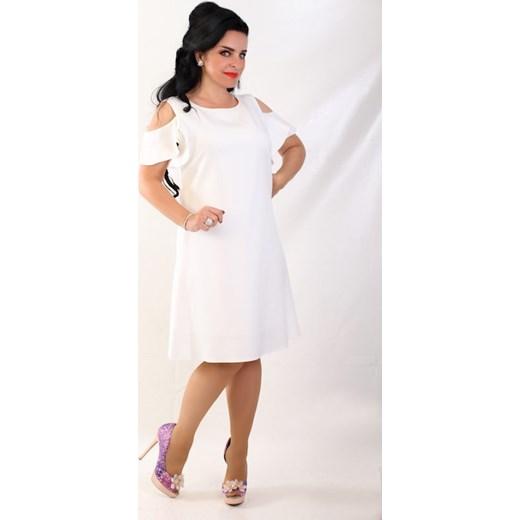 388495f3de Sukienka na ślub cywilny midi z okrągłym dekoltem z odkrytymi ramionami