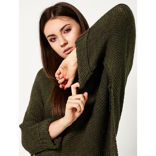 Sweter damski Unisono z okrągłym dekoltem zielony wełniany
