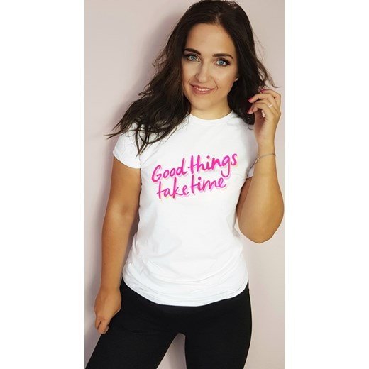 Bluzka damska Time For Fashion z krótkim rękawem z bawełny