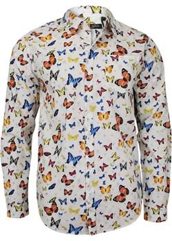 Casualowa Koszula z Długim Rękawem - BRAVE SOUL - 100% Bawełna, Taliowana, w Kolorowe Motyle KSDCBRSAW18BUTTERFLY Brave Soul  JegoSzafa.pl - kod rabatowy