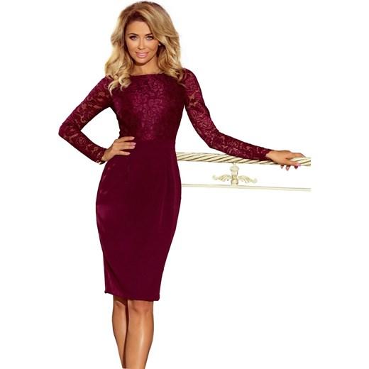 b59f644266 Fokus sukienka z dekoltem w łódkę czerwona na randkę dopasowana w Domodi