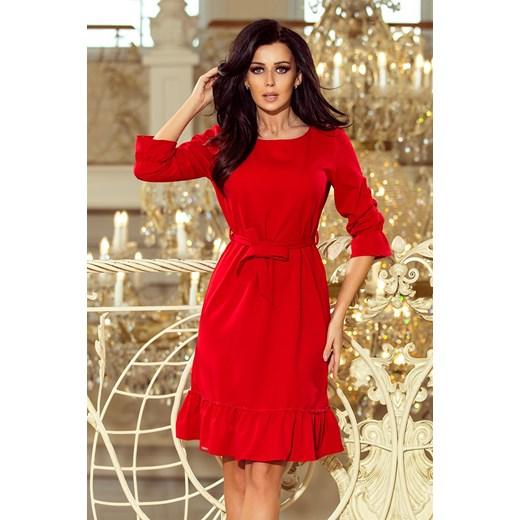 d7effa8325 Sukienka Numoco bez wzorów midi elegancka z okrągłym dekoltem w Domodi