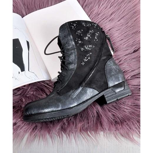 7001036578152 Workery damskie Kayla Shoes casual ze skóry ekologicznej czarne z aplikacją