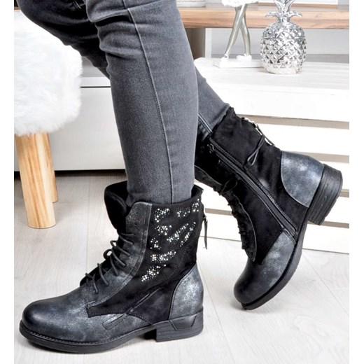 c75f54d61b7b2 ... ze skóry ekologicznej na płaskiej podeszwie; Workery damskie Kayla  Shoes casual czarne jesienne z aplikacją na płaskiej podeszwie ...