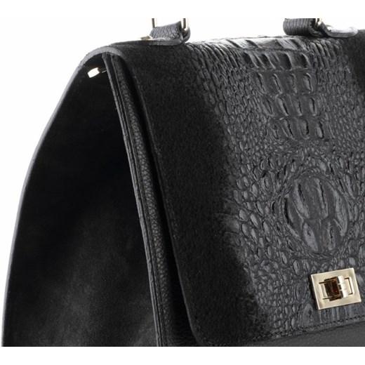 4f46de6f9ddaf ... Włoskie Torebki Skórzane Elegancki Kuferek wzór Aligatora Czarny  (kolory) Genuine Leather PaniTorbalska ...
