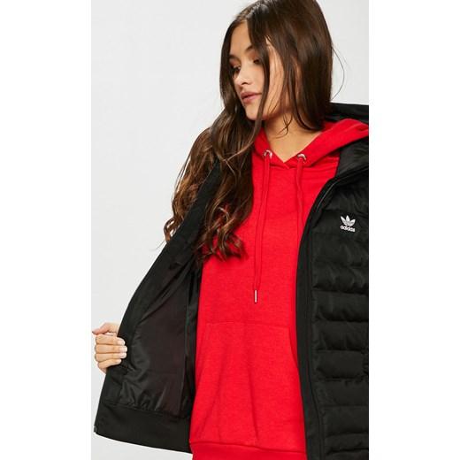 Kamizelka damska Adidas Originals krótka czarna poliestrowa bez wzorów