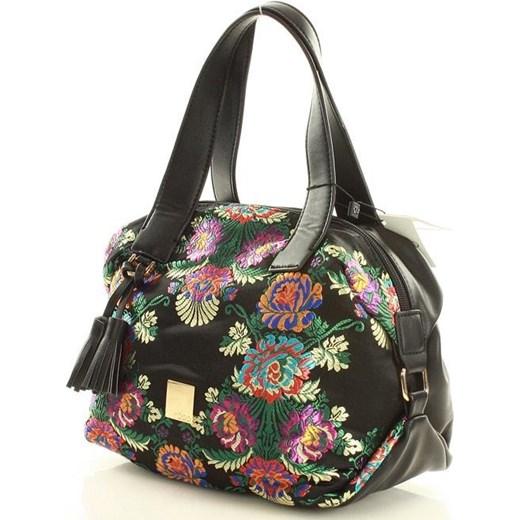f6a3e6d45f451e ... Shopper bag Nobo mieszcząca a8 do ręki z frędzlami młodzieżowa z  nadrukiem ...