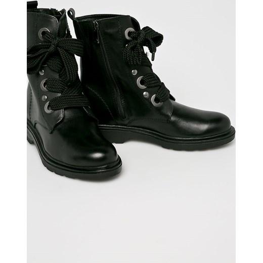 69db0c2ad0e15 ... Workery damskie Marco Tozzi jesienne czarne na płaskiej podeszwie  skórzane casual bez wzorów sznurowane