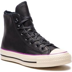 58e526ab134d4 Trampki damskie Converse płaskie z tworzywa sztucznego czarne bez wzorów  sznurowane