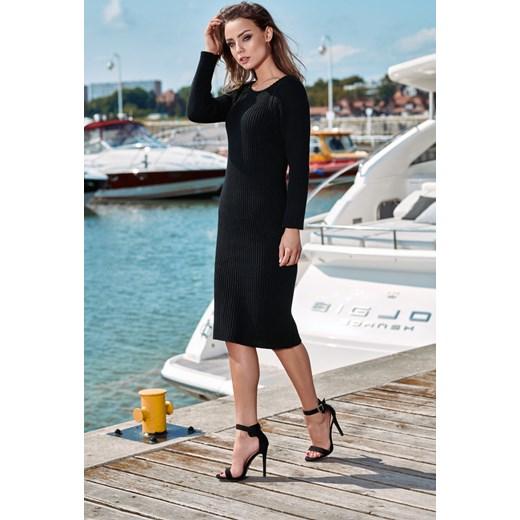 5151a44ba91e11 Kobieca ołówkowa sweterkowa sukienka czarny Lemoniade uniwersalny merg.pl