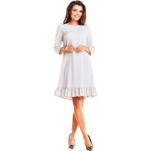 e40803b4 Sukienka biała Infinite You rozkloszowana bez wzorów z okrągłym dekoltem na  co dzień