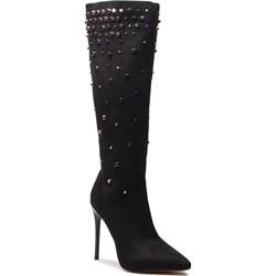 63297895600f8 Kozaki damskie Kazar za kolano gładkie czarne ze skóry ekologicznej ...