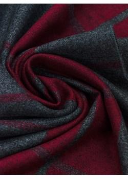 elegancki wąski szal męski w kratę Allora czerwony  - kod rabatowy
